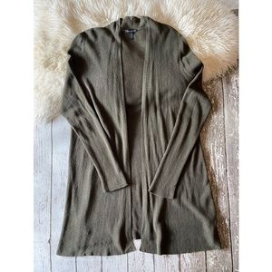 Eileen Fisher Ribbed Green Open Cardigan Plus 2x